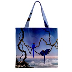 Wonderful Blue  Parrot Looking To The Ocean Grocery Tote Bag by FantasyWorld7