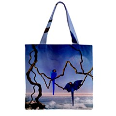 Wonderful Blue  Parrot Looking To The Ocean Zipper Grocery Tote Bag by FantasyWorld7
