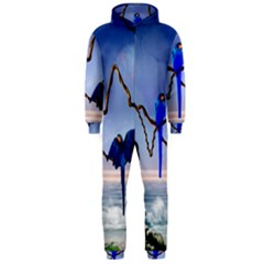 Wonderful Blue  Parrot Looking To The Ocean Hooded Jumpsuit (men)  by FantasyWorld7