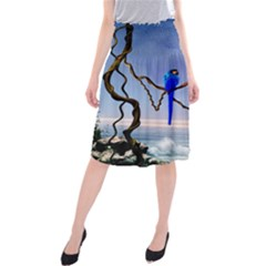 Wonderful Blue  Parrot Looking To The Ocean Midi Beach Skirt by FantasyWorld7