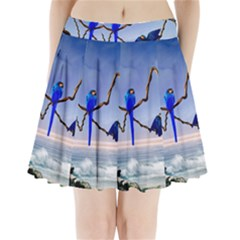 Wonderful Blue  Parrot Looking To The Ocean Pleated Mini Skirt by FantasyWorld7