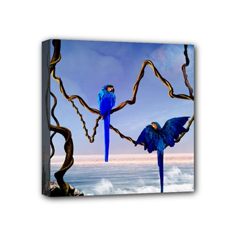 Wonderful Blue  Parrot Looking To The Ocean Mini Canvas 4  X 4  by FantasyWorld7