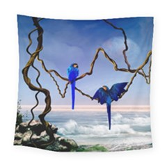 Wonderful Blue  Parrot Looking To The Ocean Square Tapestry (large) by FantasyWorld7