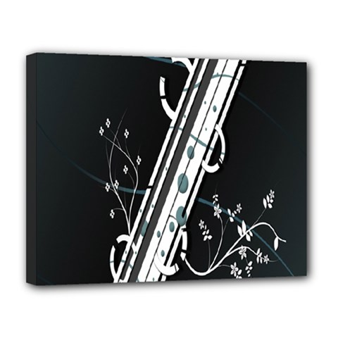 Line Light Leaf Flower Floral Black White Beauty Polka Canvas 14  X 11  by Mariart