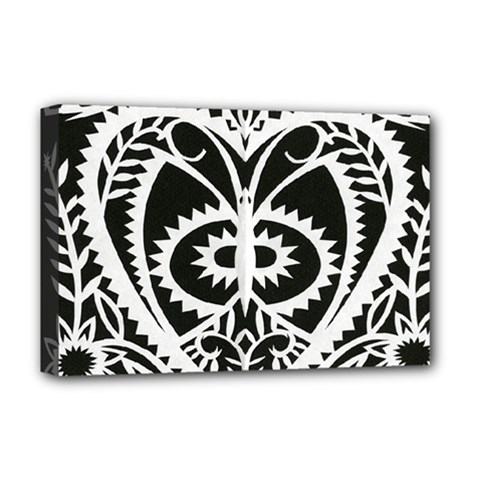 Paper Cut Butterflies Black White Deluxe Canvas 18  X 12   by Mariart