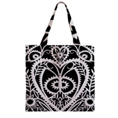 Paper Cut Butterflies Black White Zipper Grocery Tote Bag by Mariart