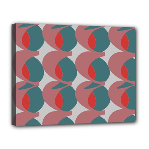 Pink Red Grey Three Art Canvas 14  X 11  by Mariart