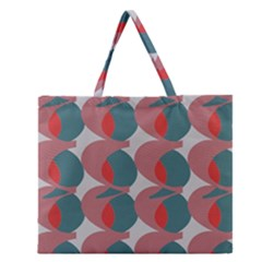 Pink Red Grey Three Art Zipper Large Tote Bag by Mariart