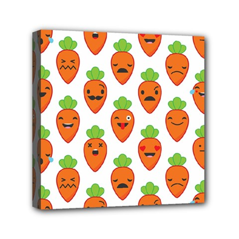 Seamless Background Carrots Emotions Illustration Face Smile Cry Cute Orange Mini Canvas 6  X 6  by Mariart
