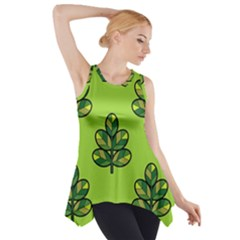 Seamless Background Green Leaves Black Outline Side Drop Tank Tunic by Mariart