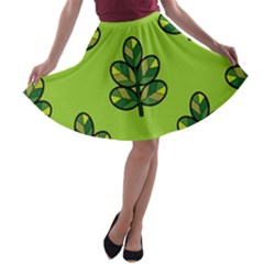 Seamless Background Green Leaves Black Outline A Line Skater Skirt by Mariart