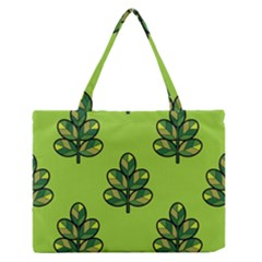 Seamless Background Green Leaves Black Outline Zipper Medium Tote Bag by Mariart