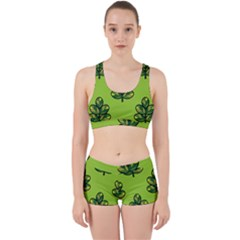 Seamless Background Green Leaves Black Outline Work It Out Sports Bra Set by Mariart