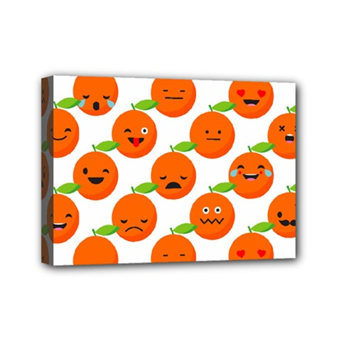 Seamless Background Orange Emotions Illustration Face Smile  Mask Fruits Mini Canvas 7  X 5  by Mariart