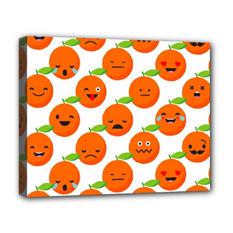 Seamless Background Orange Emotions Illustration Face Smile  Mask Fruits Deluxe Canvas 20  X 16   by Mariart