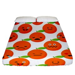 Seamless Background Orange Emotions Illustration Face Smile  Mask Fruits Fitted Sheet (queen Size) by Mariart