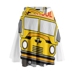 Back To School   School Bus High Waist Skirt by Valentinaart