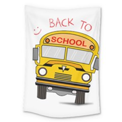 Back To School   School Bus Large Tapestry by Valentinaart