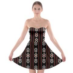 Folklore Pattern Strapless Bra Top Dress