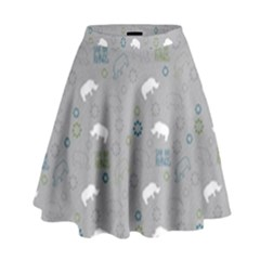 Shave Our Rhinos Animals Monster High Waist Skirt by Mariart