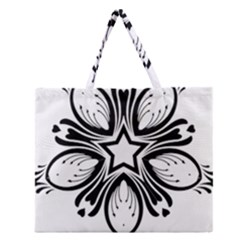 Star Sunflower Flower Floral Black Zipper Large Tote Bag by Mariart