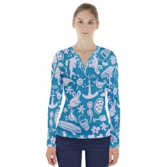 Summer Icons Toss Pattern V Neck Long Sleeve Top