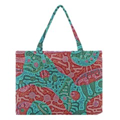 Recursive Coupled Turing Pattern Red Blue Medium Tote Bag by Mariart