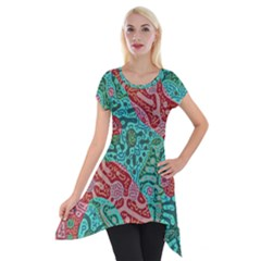 Recursive Coupled Turing Pattern Red Blue Short Sleeve Side Drop Tunic by Mariart