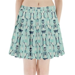 Skull Skeleton Repeat Pattern Subtle Rib Cages Bone Monster Halloween Pleated Mini Skirt by Mariart