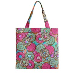Donuts Pattern Zipper Grocery Tote Bag by ValentinaDesign