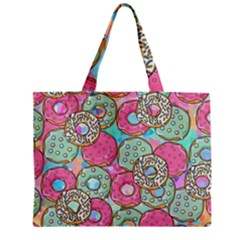 Donuts Pattern Zipper Mini Tote Bag by ValentinaDesign
