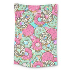 Donuts Pattern Large Tapestry by ValentinaDesign