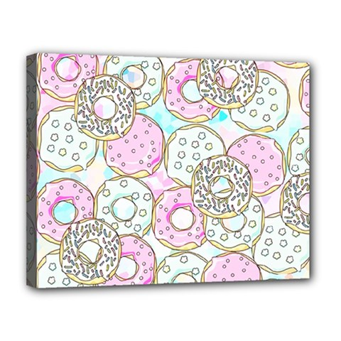 Donuts Pattern Canvas 14  X 11  by ValentinaDesign