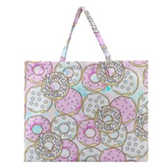 Donuts Pattern Zipper Large Tote Bag by ValentinaDesign