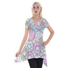 Donuts Pattern Short Sleeve Side Drop Tunic by ValentinaDesign