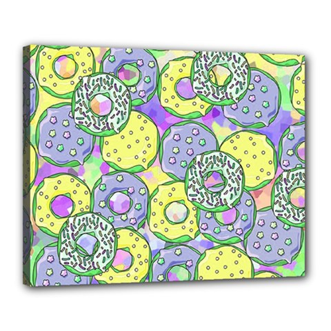 Donuts Pattern Canvas 20  X 16  by ValentinaDesign