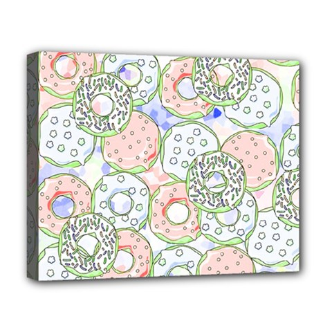 Donuts Pattern Deluxe Canvas 20  X 16   by ValentinaDesign