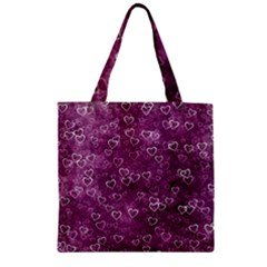 Heart Pattern Zipper Grocery Tote Bag by ValentinaDesign
