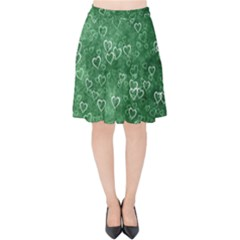 Heart Pattern Velvet High Waist Skirt by ValentinaDesign