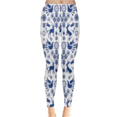 Rabbits Deer Birds Fish Flowers Floral Star Blue White Sexy Animals Leggings  by Mariart