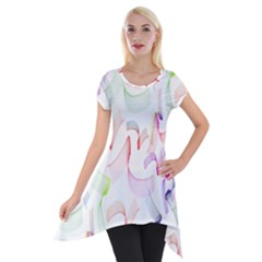 Rainbow Green Purple Pink Red Blue Pattern Zommed Short Sleeve Side Drop Tunic by Mariart