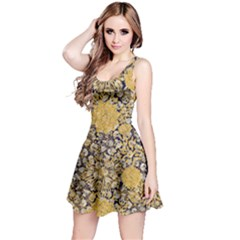 Dark Yellow Florals & Skulls Reversible Sleeveless Dress by PattyVilleDesigns