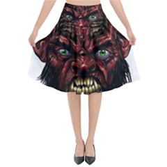 Krampus Devil Face Flared Midi Skirt