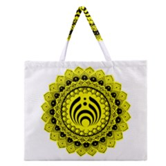 Bassnectar Sunflower Zipper Large Tote Bag by Zhezhe