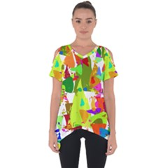 Colorful Shapes On A White Background                       Cut Out Side Drop Tee by LalyLauraFLM