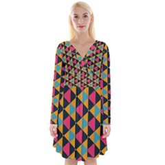 Triangles Pattern                              Long Sleeve Front Wrap Dress