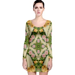 92 Gcvgrab 0099z Yellow Roses Tulips Pink Daisy Long Sleeve Bodycon Dress by CircusValleyMallDresses