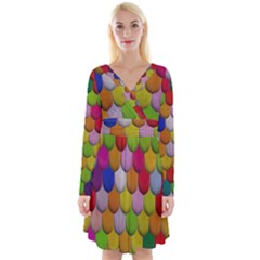 Colorful Tiles Pattern                              Long Sleeve Front Wrap Dress