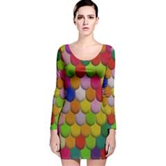 Colorful Tiles Pattern                           Long Sleeve Velvet Bodycon Dress by LalyLauraFLM