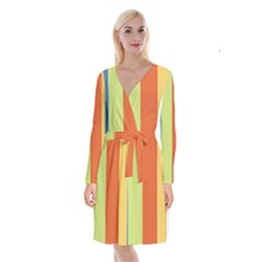 Cvst0094 Yellow Orange Green Blue Stripes Long Sleeve Velvet Front Wrap Dress